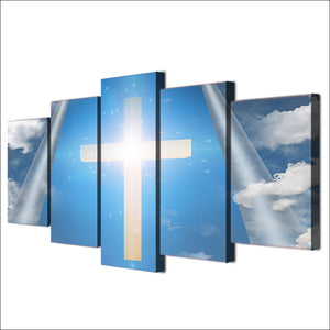 5 Piece Canvas Art Jesus Christian Cross Sky Wall Print Wall Panel Picture : cheap canvas prints wall paintings pictures