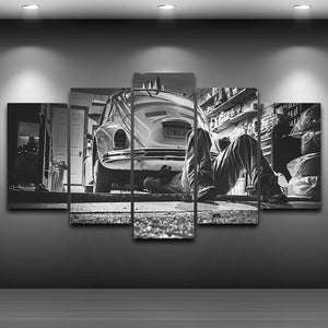5 Panel Volkswagen VW Bug Repair 5 pcs wall art on canvas print