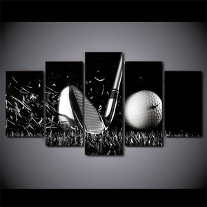 5 Panel Black / White Golf Golfing picture Iron Golf Ball Canvas Wall Art : cheap canvas prints wall paintings pictures