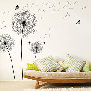 Large black dandelion butterfly flower wall sticker decal home decoration living : cheap canvas prints wall paintings pictures