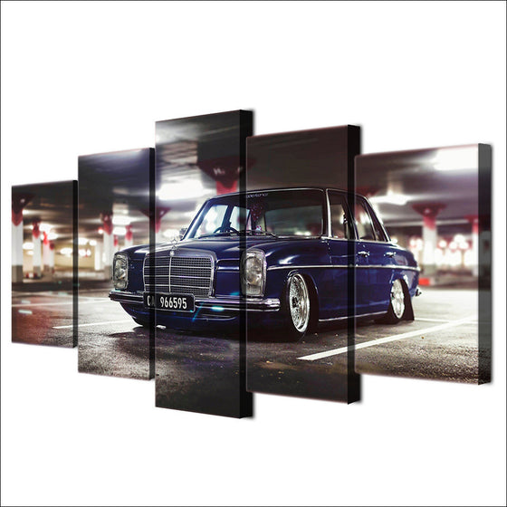 Blue Mercedes lowered slammed wall art on canvas - ASH Wall Decor - Wall Art Picture Painting Canvas Living Room