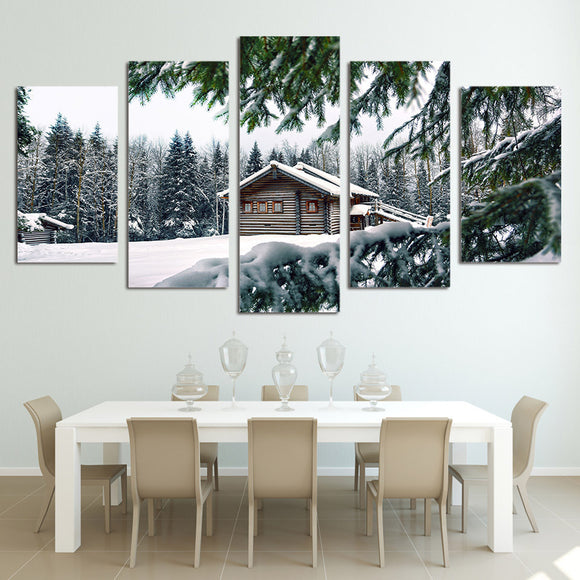 "Cabin in snow winter scene 5 panel wall art on canvas - 84"" option - ASH Wall Decor - Wall Art Canvas Panel Print Painting"