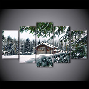 "Cabin in snow winter scene 5 panel wall art on canvas - 84"" option : cheap canvas prints wall paintings pictures"
