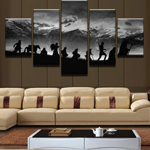 Hikers on Snow Mountain Scene Modern Home Wall Decor Canvas Picture Panel Print : cheap canvas prints wall paintings pictures