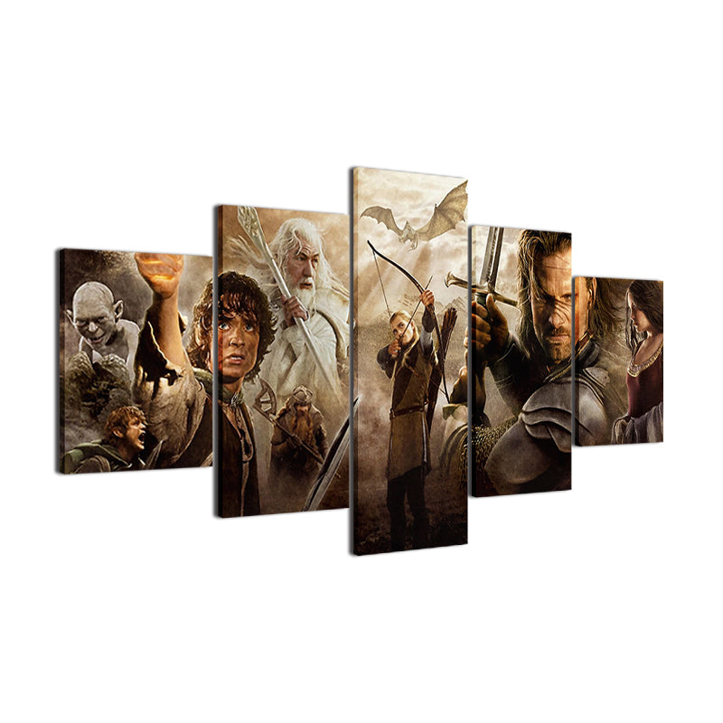 ... Lord Of The Rings Movie Characters Wall Art Poster 5 Panel Home Decor    ASH Wall ...