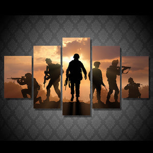 5 Piece Canvas Art Army Soldiers Sunset Wall Pictures for Canvas Prints : cheap canvas prints wall paintings pictures