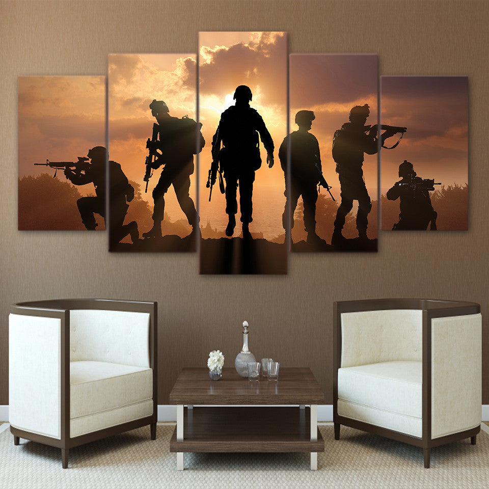 ... 5 Piece Canvas Art Army Soldier Sunset Painting Wall Pictures For Living  Room Canvas Prints ... Part 44