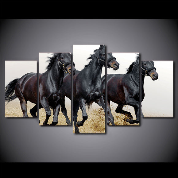 3 Black Horses Running Galloping  Panel Wall Art on Canvas Framed Unframed - ASH Wall Decor - Wall Art Picture Painting Canvas Living Room