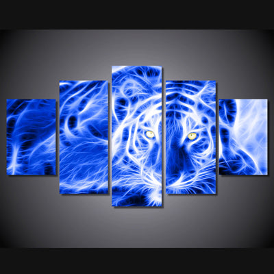 Leopard electric neon abstract 5 piece panel wall art print picture ...