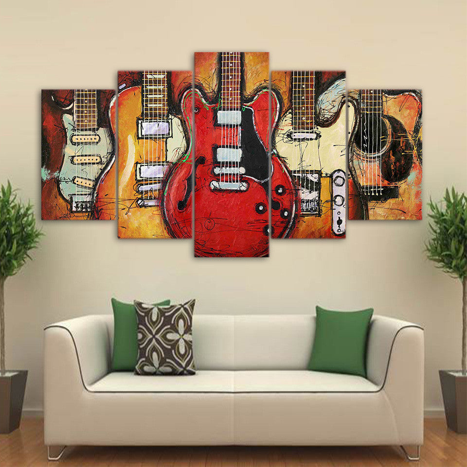 ... 5 Piece Guitar Abstract Wall Art Canvas Pictures For Living Room  Bedroom   ASH Wall Decor ...