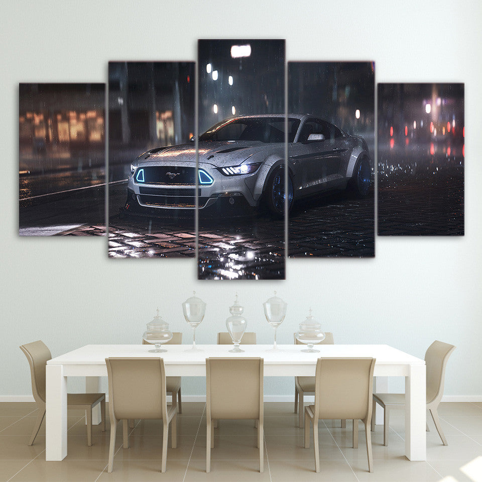 5 Piece Canvas Wall Art Silver Ford Mustang Cobra Shelby Car - ASH Wall Decor - Wall Art Picture Painting Canvas Living Room