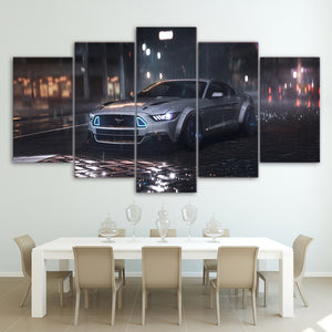 5 Piece Canvas Wall Art Silver Ford Mustang Cobra Shelby Car : cheap canvas prints wall paintings pictures