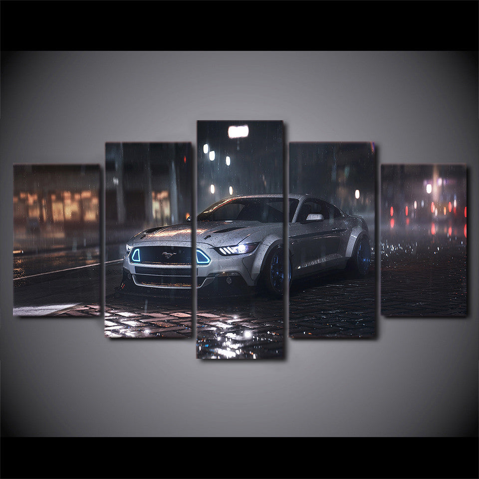 5 Piece Canvas Wall Art Silver Ford Mustang Cobra Shelby Car - ASH Wall Decor