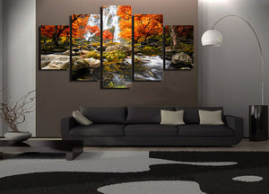 5 piece panel canvas art picture autumn nature lake forest waterfall landscape : cheap canvas prints wall paintings pictures