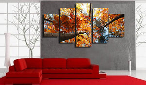 Autumn Fall Print Trees Gold Leaves 5 piece panel wall art canvas picture print : cheap canvas prints wall paintings pictures