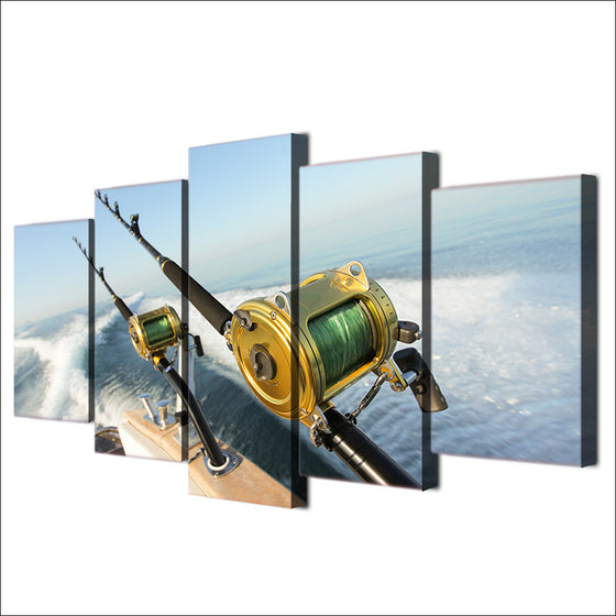 Panel Wall Art Fishing Rod Blue Ocean Sailing Wave Wall Picture for Living Room - ASH Wall Decor - Wall Art Picture Painting Canvas Living Room