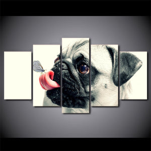 HD Printed 5 Piece Canvas Art Cute Pug Dog : cheap canvas prints wall paintings pictures