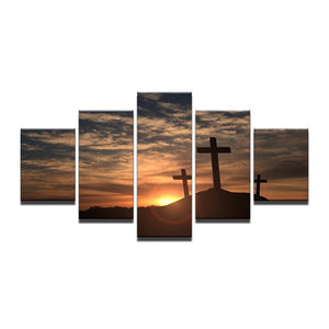 5 Pcs Panel Piece Mountain Cross Sunset Landscape Wall Art Decor Picture Print : cheap canvas prints wall paintings pictures
