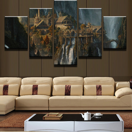 Mysterious Mountain Castle Waterfall Landscape Wall Art Canvas Framed Unframed
