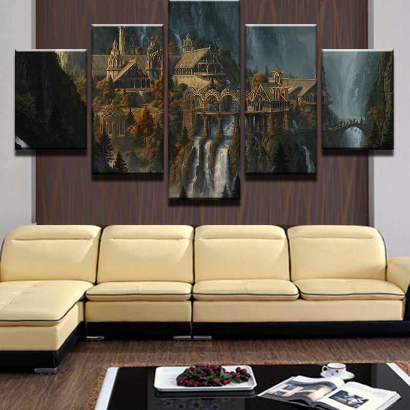 Mysterious Mountain Castle Waterfall Landscape Wall Art Canvas ...