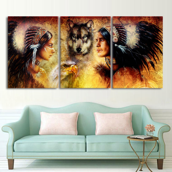 3 piece canvas art  American Indians wolf  vintage painting wall picture - ASH Wall Decor - Wall Art Picture Painting Canvas Living Room