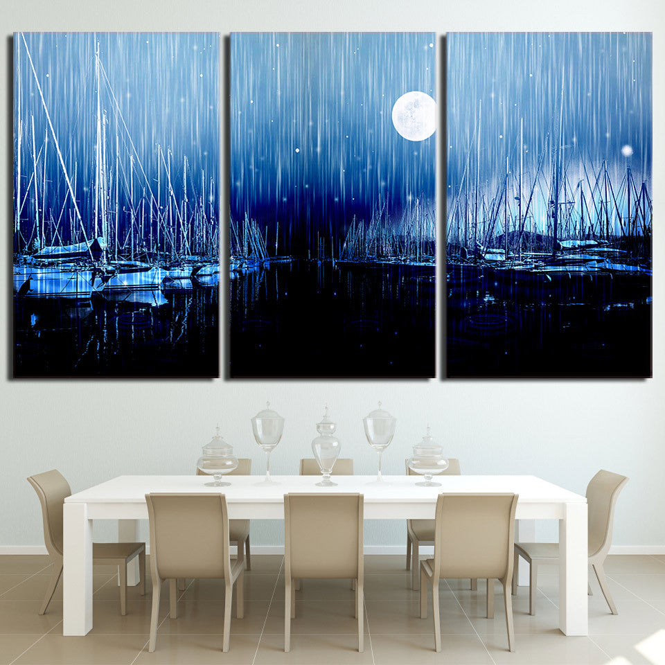 3 piece canvas art sailboats moon night wall art Panel Poster Picture Print    cheap canvas 3148c3f85