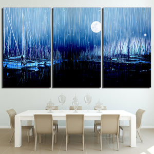 3 piece canvas art sailboats moon night wall art Panel Poster Picture Print : cheap canvas prints wall paintings pictures