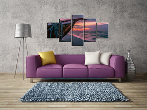 5 Piece Boat on Sea Ocean at Sunset Canvas Panel Wall Art Print Picture : cheap canvas prints wall paintings pictures