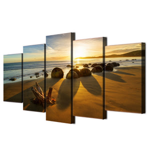 5 piece Canvas Art Print -  Beach on the Ocean with Rocks at Sunset : cheap canvas prints wall paintings pictures