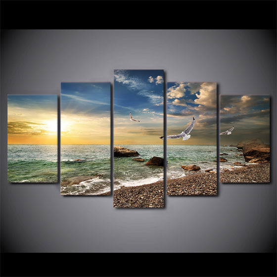 5 Panel Ocean Gulf Beach and Surf at Sunset Wall Art on Canvas Print Picture - ASH Wall Decor - Wall Art Canvas Panel Print Painting