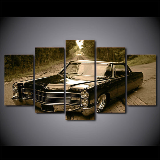 Cadillac lowrider slammed gray tones - 5 Piece Canvas Art - ASH Wall Decor - Wall Art Picture Painting Canvas Living Room