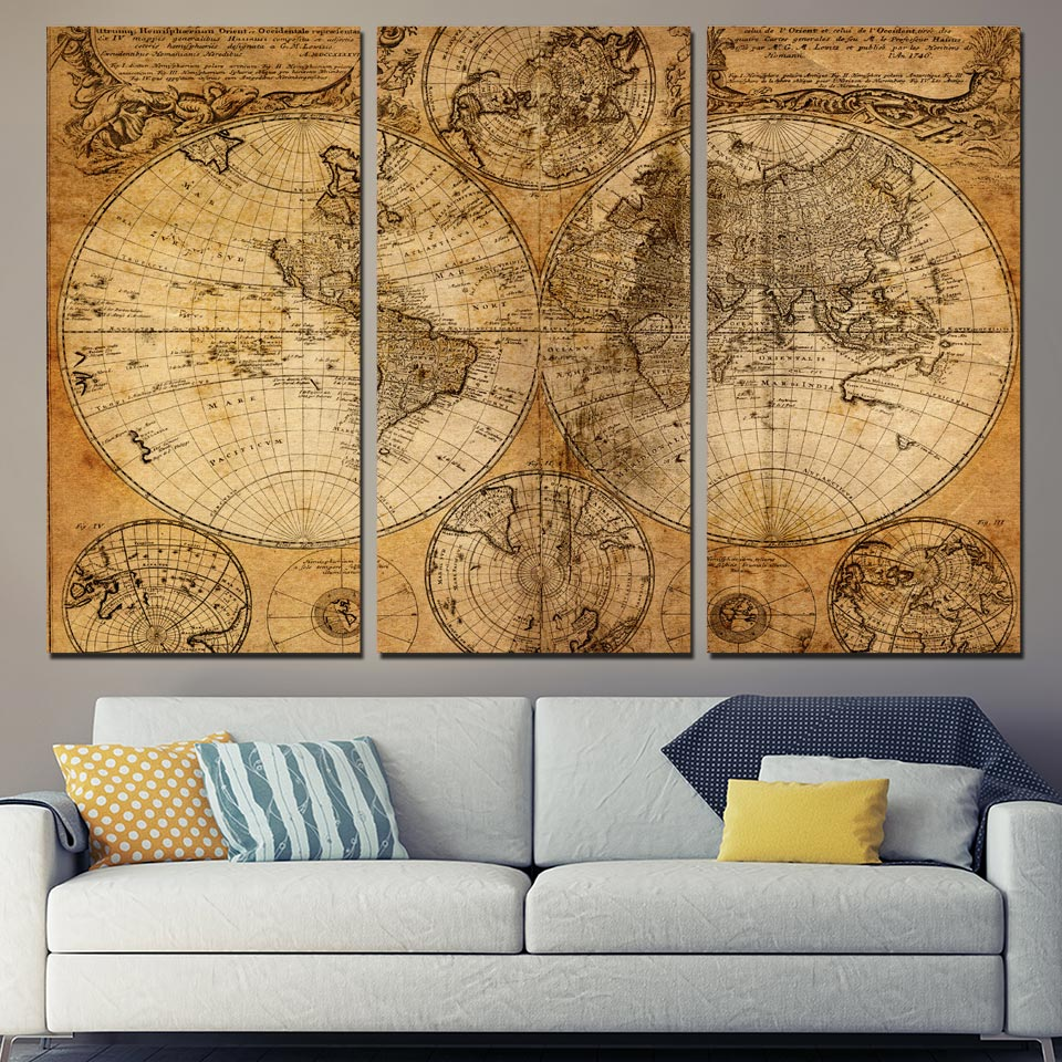 3 panel canvas art world map canvas panel ancient map wall art print