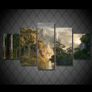 Mountain forest castle clouds 5 piece canvas art wall pictures for living room : cheap canvas prints wall paintings pictures