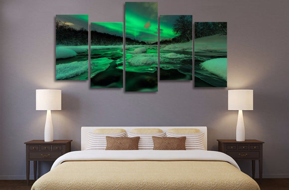 aurora south norway lights sky - panel wall art on canvas - ASH Wall Decor - Wall Art Canvas Panel Print Painting
