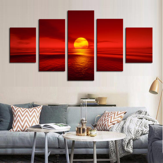 5 Panel Sunset Red Sun Sea Ocean Natural Landscape Wall Art Print Framed UNframed - ASH Wall Decor - Wall Art Canvas Panel Print Painting