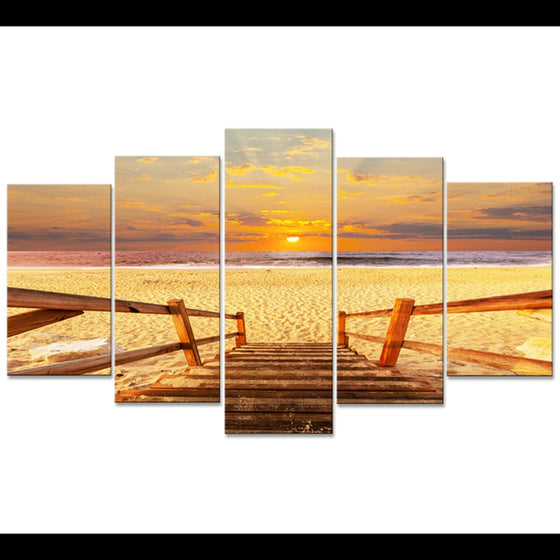 5 Piece Sunset Beach Sea View Landscape Print Wall Art Canvas Framed UNframed - ASH Wall Decor - Wall Art Canvas Panel Print Painting