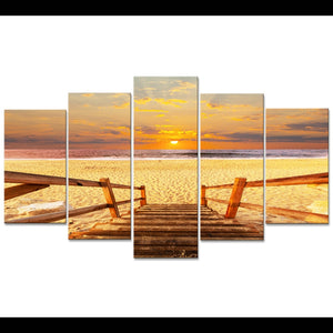 5 Piece Sunset Beach Bridge Gulf Sea Ocean Print Wall Art Canvas Picture : cheap canvas prints wall paintings pictures