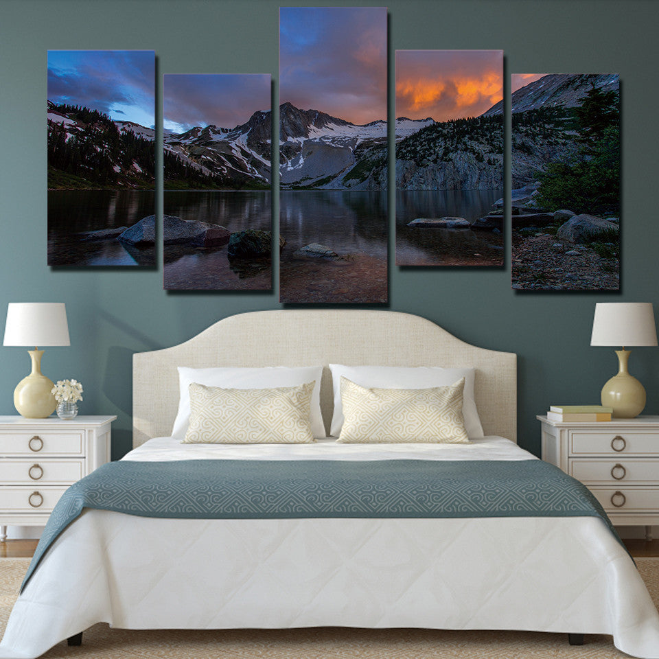 5 piece canvas art Lake mountains at sunset landscape painting wall art - ASH Wall Decor