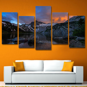 5 piece canvas art Lake mountains at sunset landscape painting wall art : cheap canvas prints wall paintings pictures