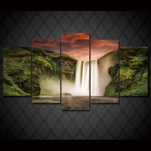 Natural waterfall at sunset landscape 5 piece canvas print : cheap canvas prints wall paintings pictures