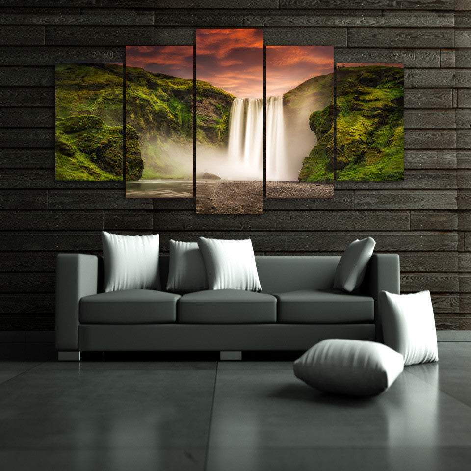 Natural waterfall at sunset landscape 5 piece canvas print ash natural waterfall at sunset landscape 5 piece canvas print ash wall decor wall art amipublicfo Choice Image