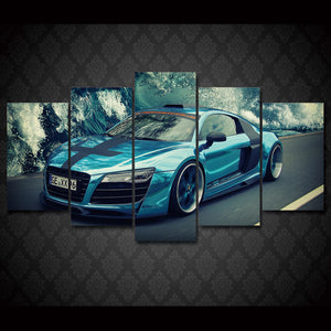 Blue Audi R8 exotic car 5 piece Canvas Print : cheap canvas prints wall paintings pictures