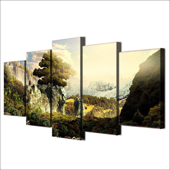 Natural paradise mountains sun shine 5 piece wall art canvas print - ASH Wall Decor - Wall Art Picture Painting Canvas Living Room