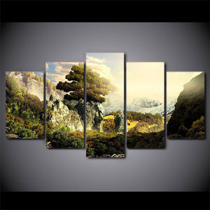 Natural paradise mountains sun shine 5 piece wall art canvas print : cheap canvas prints wall paintings pictures