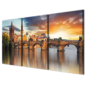 3 piece home decor European Prague Bridge wall picture panel print living room : cheap canvas prints wall paintings pictures