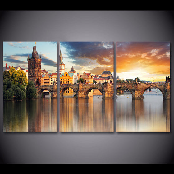 3 piece home decor European Prague Bridge wall pictures for living room - ASH Wall Decor - Wall Art Picture Painting Canvas Living Room
