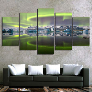 HD printed 5 Piece Canvas Art Psychedelic Aurora Lake Ice Mountain Panel Print : cheap canvas prints wall paintings pictures