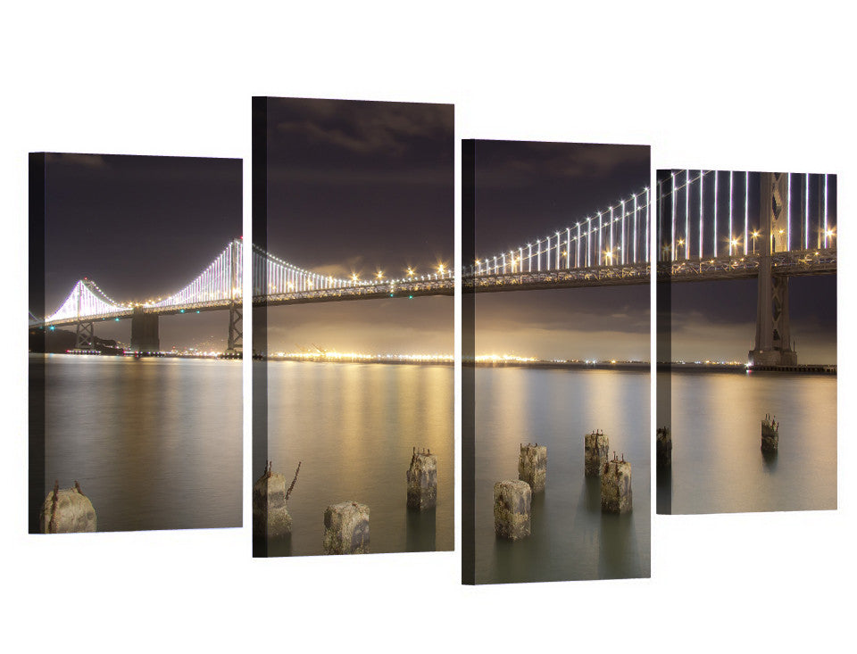 ... San Francisco Bay Bridge 4 Piece Canvas Panel Wall Art Picture Print  Reflection   ASH Wall ...