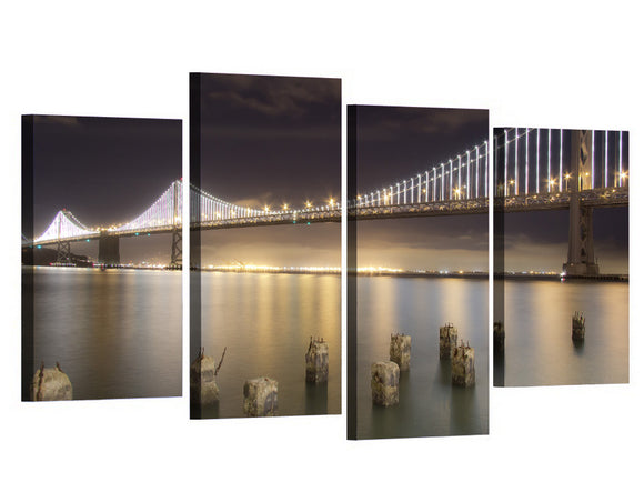 San Francisco Bay Bridge 4 piece canvas panel wall art HUGE option - ASH Wall Decor - Wall Art Picture Painting Canvas Living Room