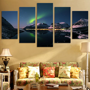 Dazzling Northern Lights aurora mountain reflection over lake wall art canvas pr : cheap canvas prints wall paintings pictures